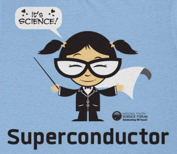 Super conductor cartoon - blue shirt