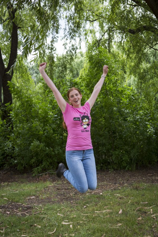 Female modelling pink t-shirt