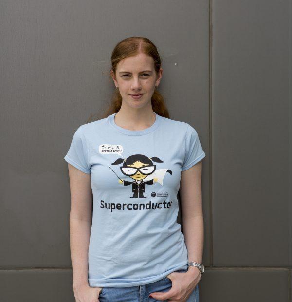 Female modelling blue t-shirt