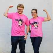 woman and man modelling shirt