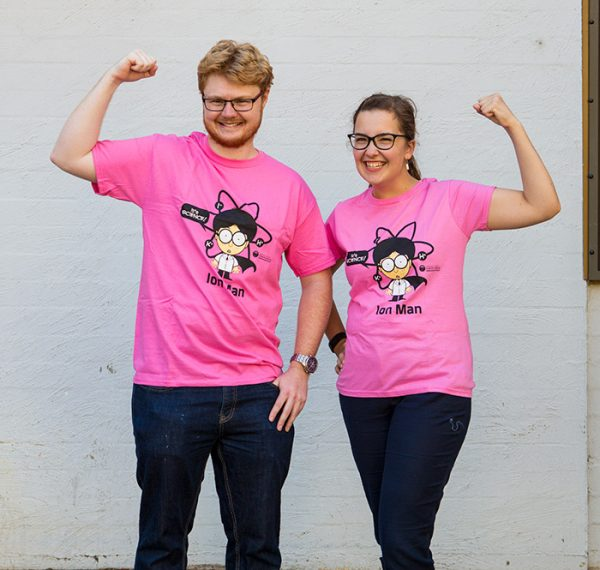 woman and man modelling pink shirt