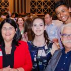 The Honorable Grace Grace (Queensland Minister for Education), Macinley Butson (NSW Young Australian of the Year 2018 nominee), Alan Mackay-Sim (2017 Australian of the Year) and student Mark Ziegelaar