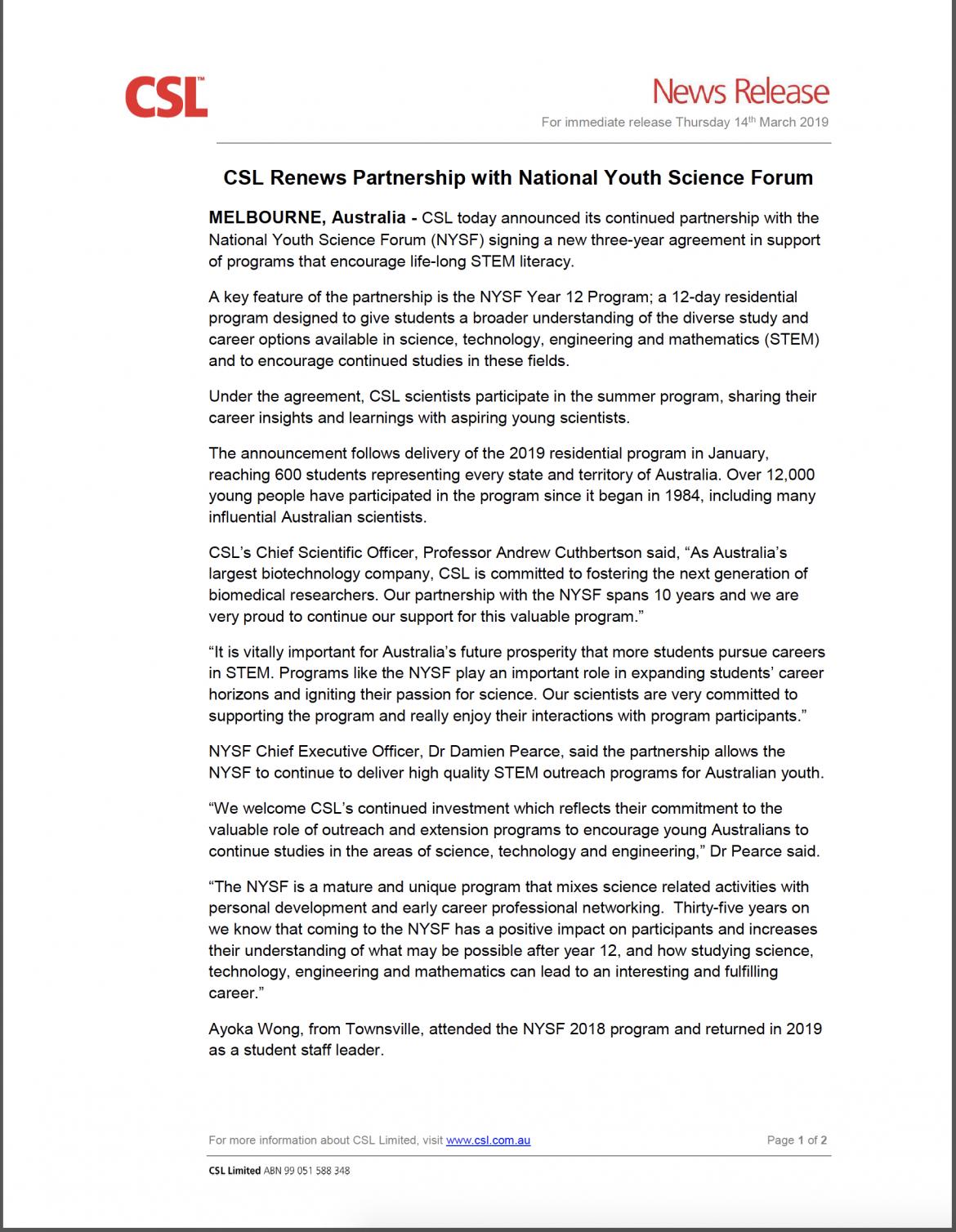 CSL Renews Partnership – Media Release - content image