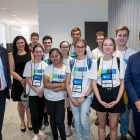 NYSF Particpants with (L-R) SA Minister for Education, the Hon John Gardner MP, NYSF CEO, Dr Melanie Bagg and Premier of SA the Hon Steven Marshall MP at the Lot Fourteen Press Conference