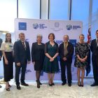 Speakers at the Towards COP26: Building on ambition reception (L-R) Mr Jamie Isbister, Australian Ambassador for the Environment, DFAT, Naomi,  HE Micheal Pulch, European Union Ambassador, HE Vicki Treadell, British High Commissioner, HE Francesca Tardioli, Ambassador of Italy, Ngunnawal Traditional Custodian, Mr Wally Bell, Australian Minister for the Environment, the Hon Sussan Ley MP and Mr Werther Esposito, Country Manager, Enel Green Power