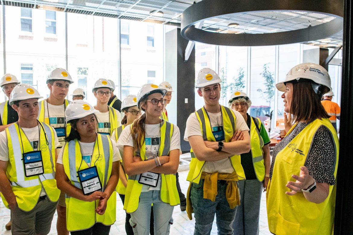 Students on a tour of the Australian Space Discovery Centre in Adelaide