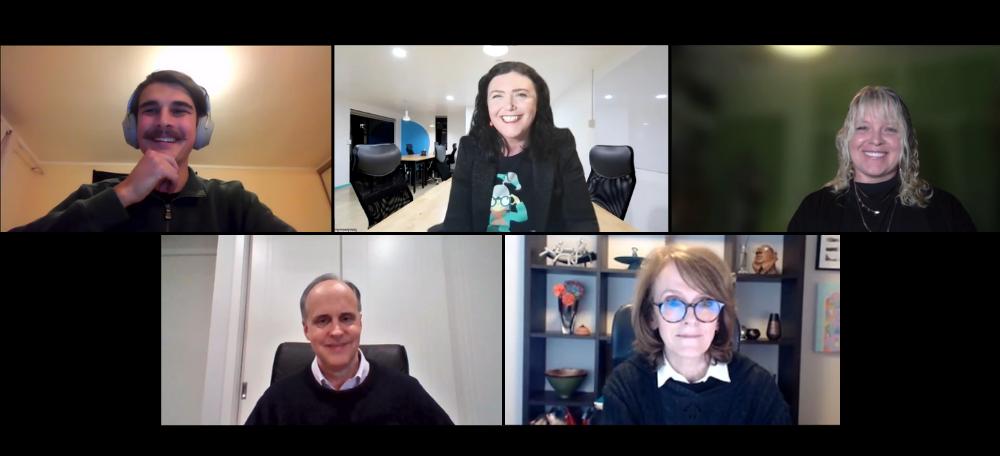 Ben Millar, Dr Melanie Bagg, Dr Sam Moyle, David Ball, and Professor Cathy Foley AO PSM on a zoom screenshot